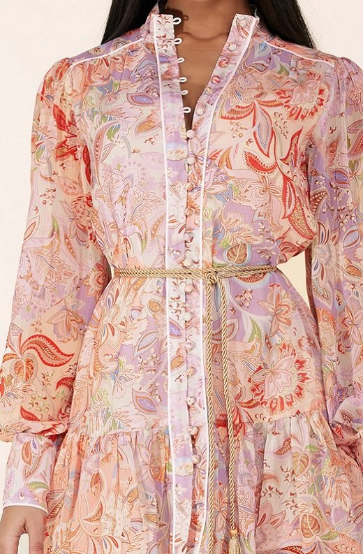Dusty Rose Paisley Long Sleeves Belted Mini Dress 5