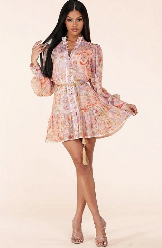 Dusty Rose Paisley Long Sleeves Belted Mini Dress 6