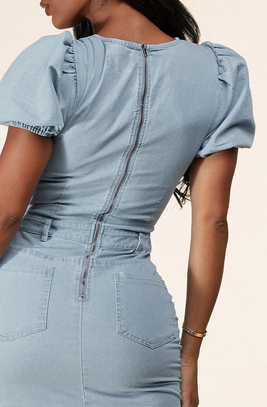 Light Wash Denim Front Lace UP Cutout Mini Dress 6