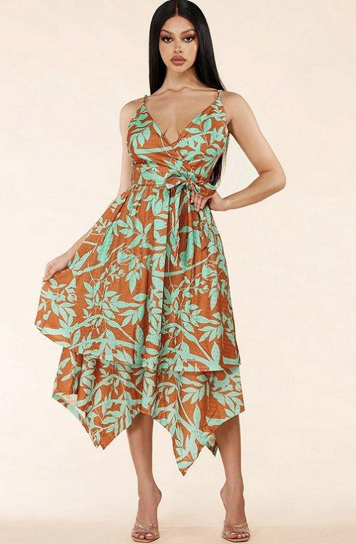 Mocha Flower Eyelet Sleeveless Midi Dress 1