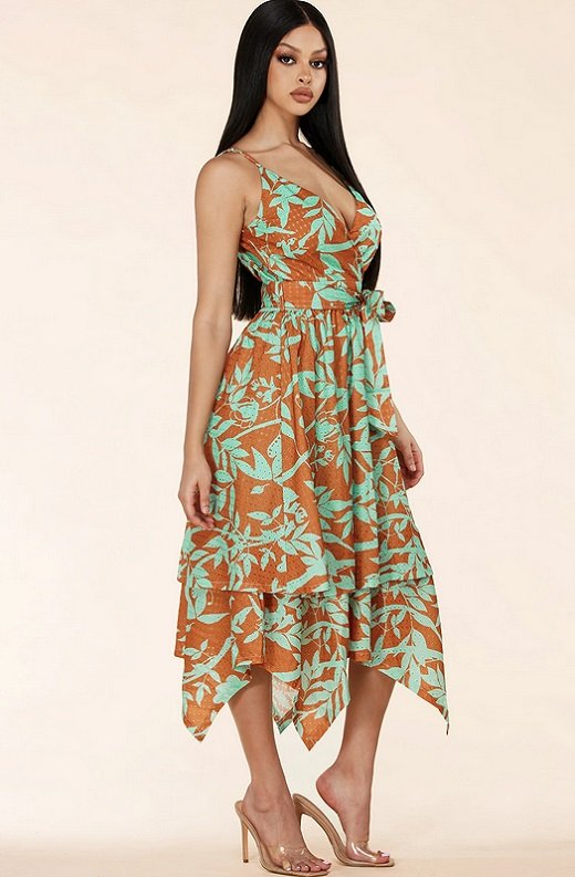 Mocha Flower Eyelet Sleeveless Midi Dress 3