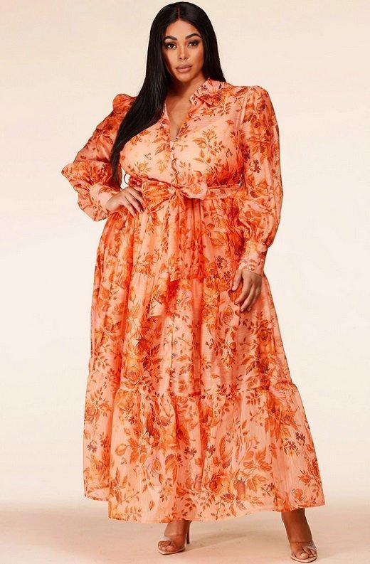 Orange Floral Sheer Chiffon Long Sleeves Maxi Dress Plus Size 1
