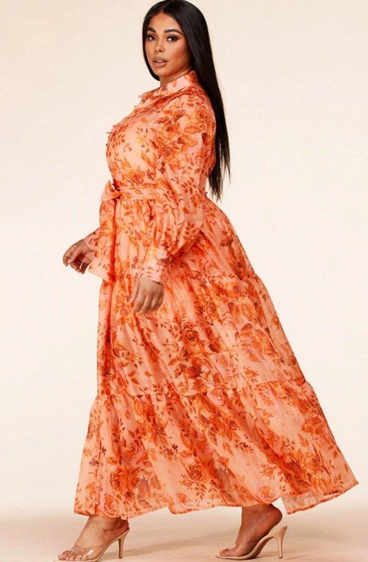 Orange Floral Sheer Chiffon Long Sleeves Maxi Dress Plus Size 2