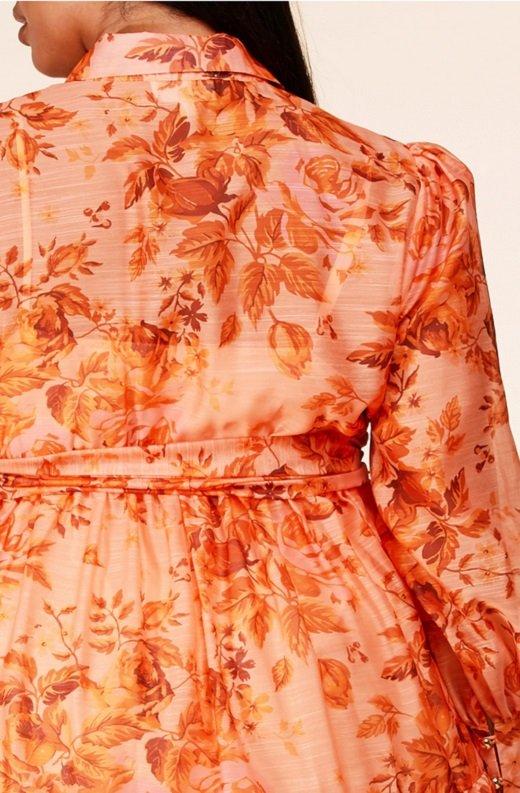 Orange Floral Sheer Chiffon Long Sleeves Maxi Dress Plus Size 5