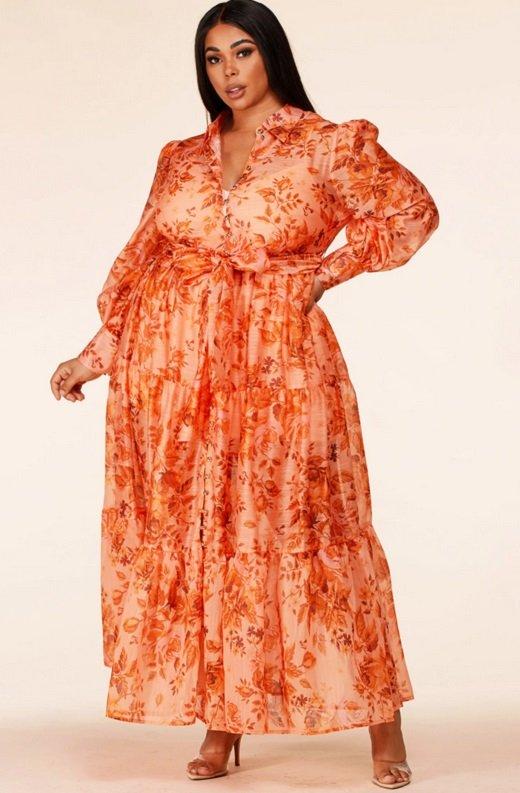 Orange Floral Sheer Chiffon Long Sleeves Maxi Dress Plus Size 6