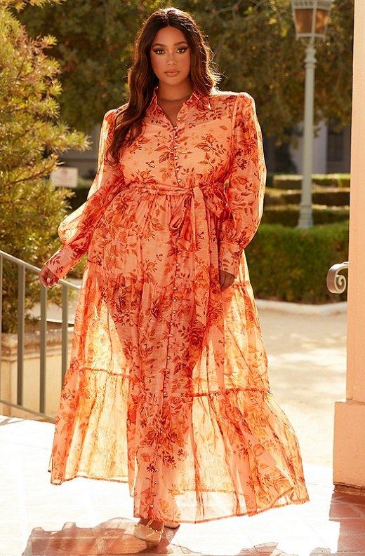 Orange Floral Sheer Chiffon Long Sleeves Maxi Dress Plus Size 7