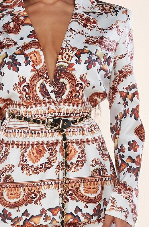 Rose Gold Baroque Vintage High Rise Two Piece Shorts Set 4