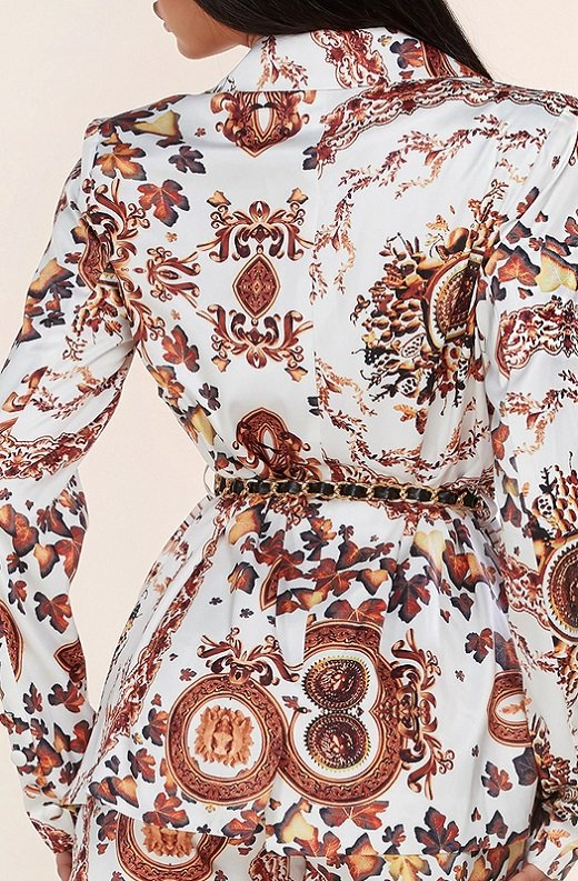 Rose Gold Baroque Vintage High Rise Two Piece Shorts Set 5