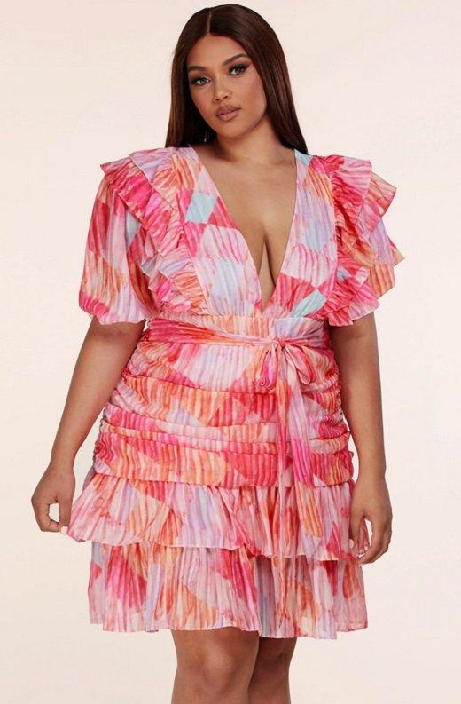 Tangerine Abstract Ruffled Short Sleeves Mini Dress Plus Size 1