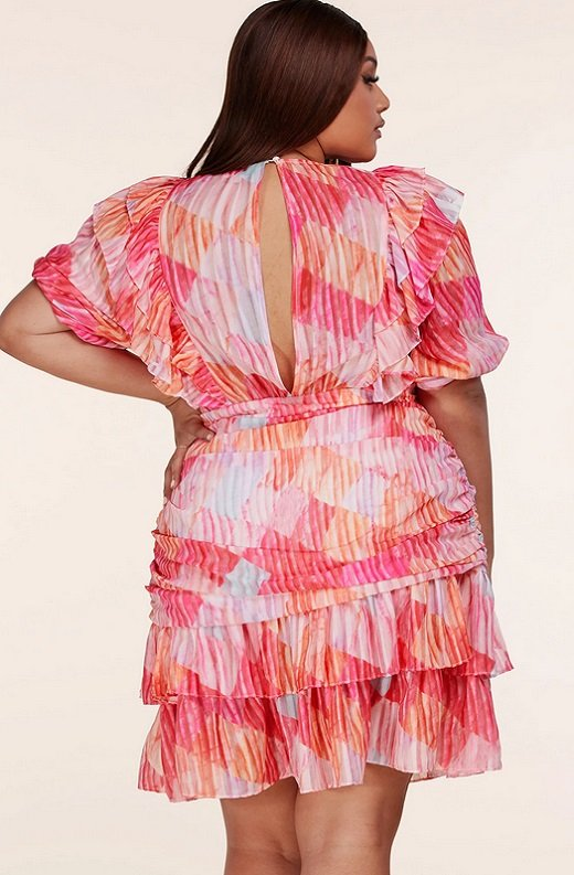Tangerine Abstract Ruffled Short Sleeves Mini Dress Plus Size 3