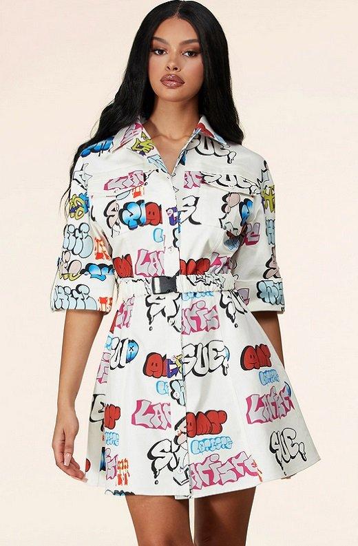 White Urban Graffiti Print Short Sleeves Belted Mini Dress 1