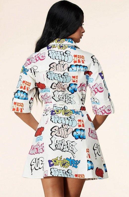 White Urban Graffiti Print Short Sleeves Belted Mini Dress 4