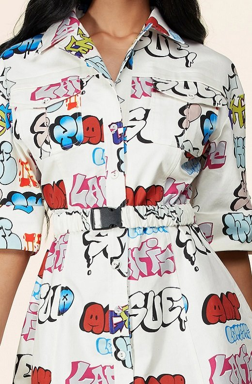White Urban Graffiti Print Short Sleeves Belted Mini Dress 5