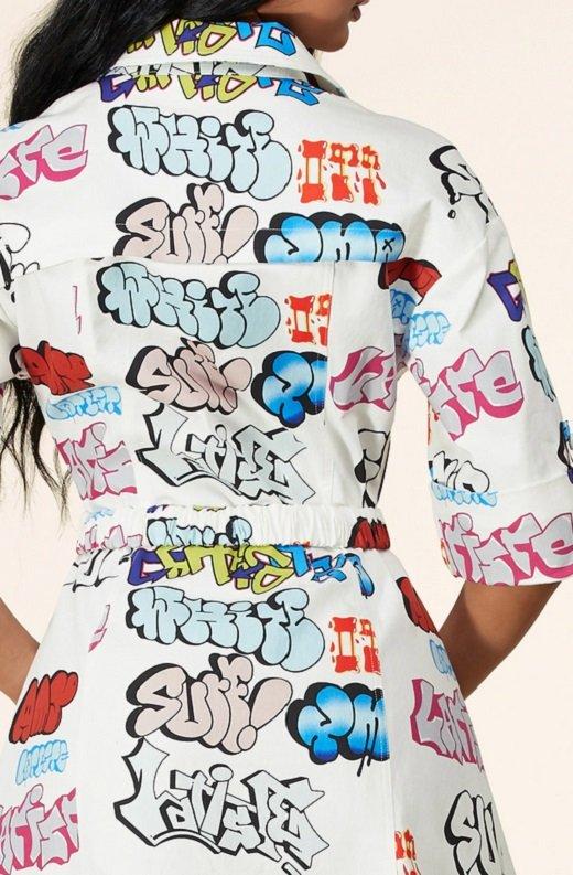White Urban Graffiti Print Short Sleeves Belted Mini Dress 6