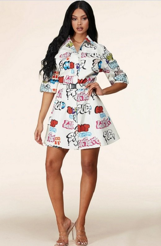 White Urban Graffiti Print Short Sleeves Belted Mini Dress 8