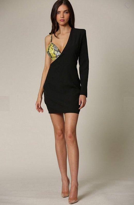 Black One Shoulder Silhouette Snake Print Leather Bralette Dress 1