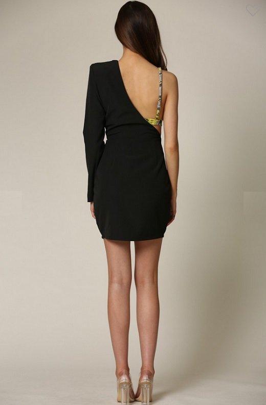 Black One Shoulder Silhouette Snake Print Leather Bralette Dress 5