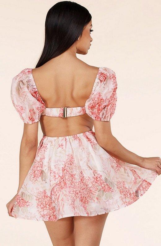 Blush Floral Short Sleeves Cutout Skater Dress 3