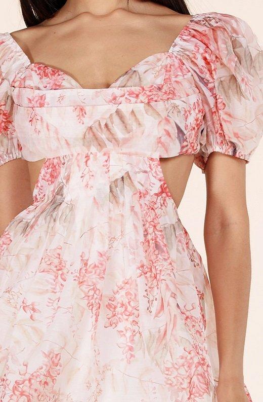 Blush Floral Short Sleeves Cutout Skater Dress 4