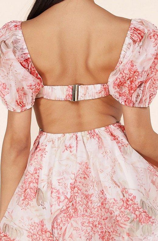 Blush Floral Short Sleeves Cutout Skater Dress 5
