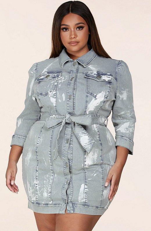 Denim Wash Button Up Half Sleeves Dress Plus Size 1