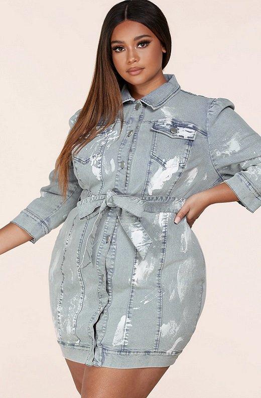 Denim Wash Button Up Half Sleeves Dress Plus Size 2