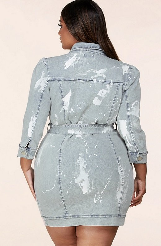 Denim Wash Button Up Half Sleeves Dress Plus Size 3