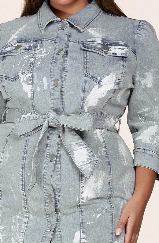 Denim Wash Button Up Half Sleeves Dress Plus Size 4