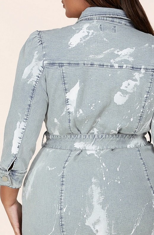 Denim Wash Button Up Half Sleeves Dress Plus Size 5