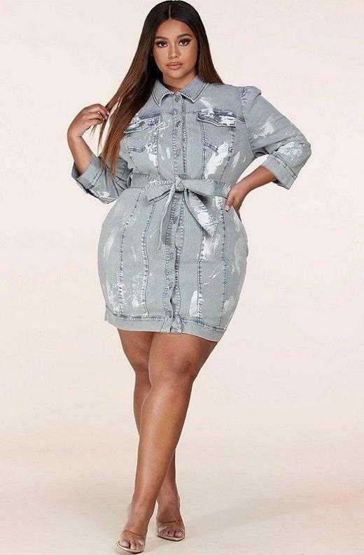 Denim Wash Button Up Half Sleeves Dress Plus Size 6