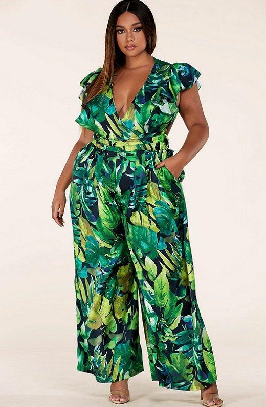 Green Forest Leaf Print Cut Out Back Wide Leg Jumpsuit Plus Size 1