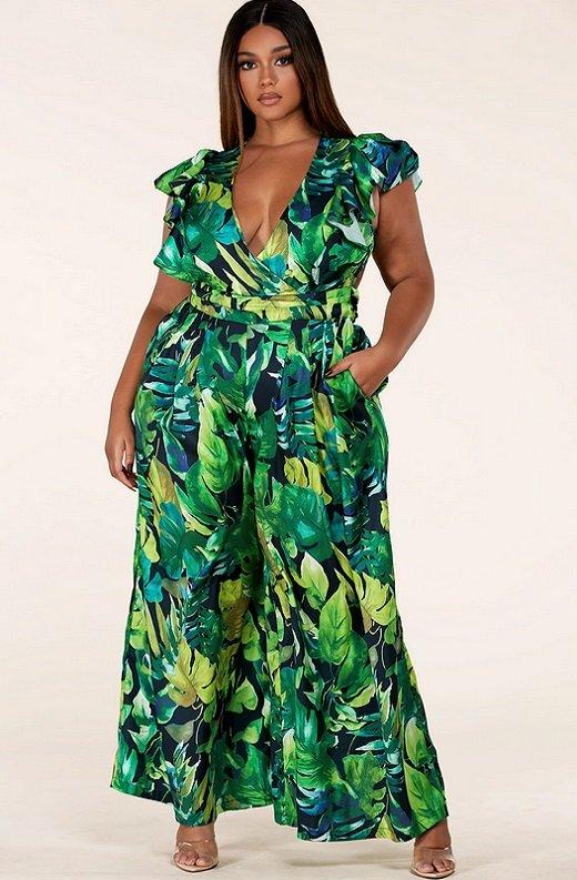 Green Forest Leaf Print Cut Out Back Wide Leg Jumpsuit Plus Size 2