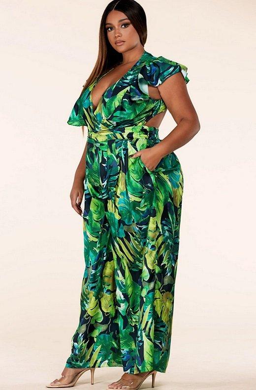 Green Forest Leaf Print Cut Out Back Wide Leg Jumpsuit Plus Size 3