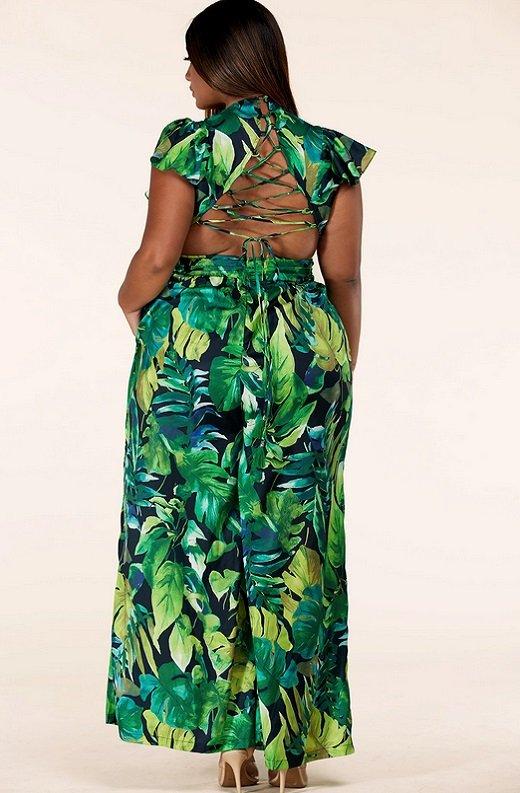 Green Forest Leaf Print Cut Out Back Wide Leg Jumpsuit Plus Size 4