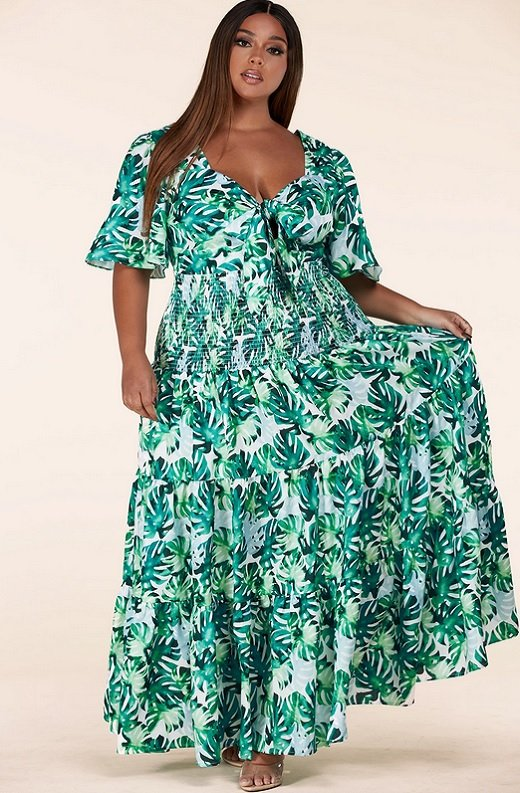 Green Tropical Leaf Tie-Front Short Sleeves Maxi Dress Plus Size 1