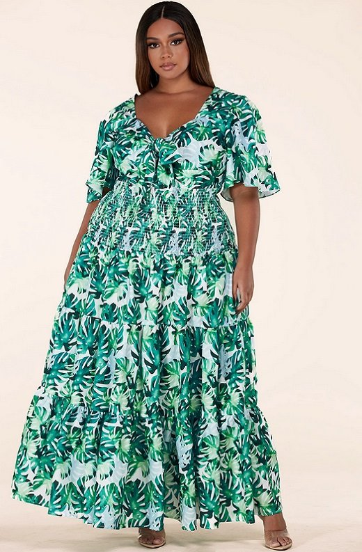 Green Tropical Leaf Tie-Front Short Sleeves Maxi Dress Plus Size 2