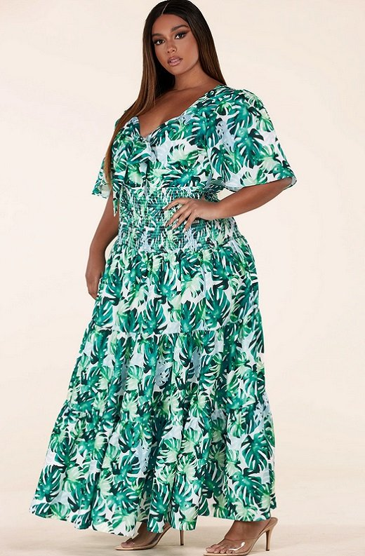 Green Tropical Leaf Tie-Front Short Sleeves Maxi Dress Plus Size 3