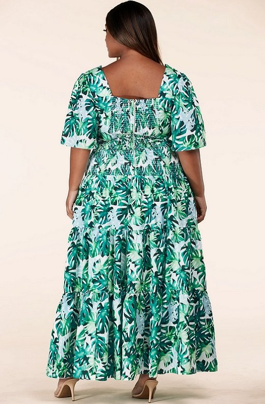 Green Tropical Leaf Tie-Front Short Sleeves Maxi Dress Plus Size 4