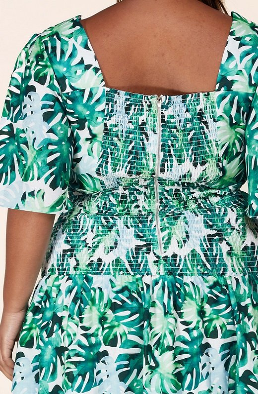 Green Tropical Leaf Tie-Front Short Sleeves Maxi Dress Plus Size 6