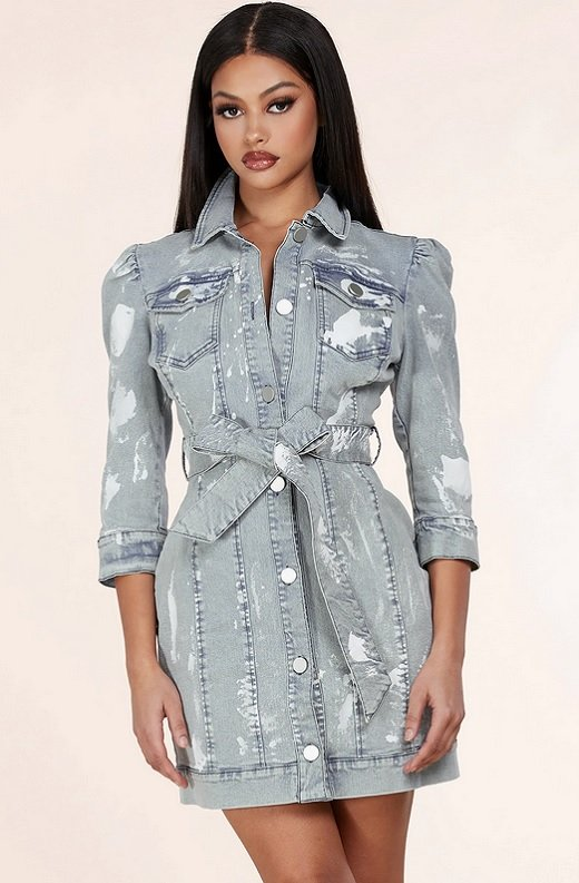 Light Denim Wash Button Up Half Sleeves Dress 1