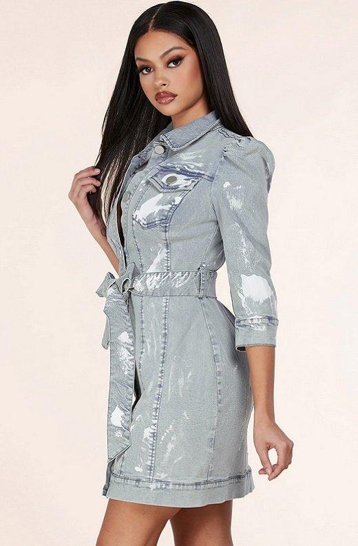 Light Denim Wash Button Up Half Sleeves Dress 2