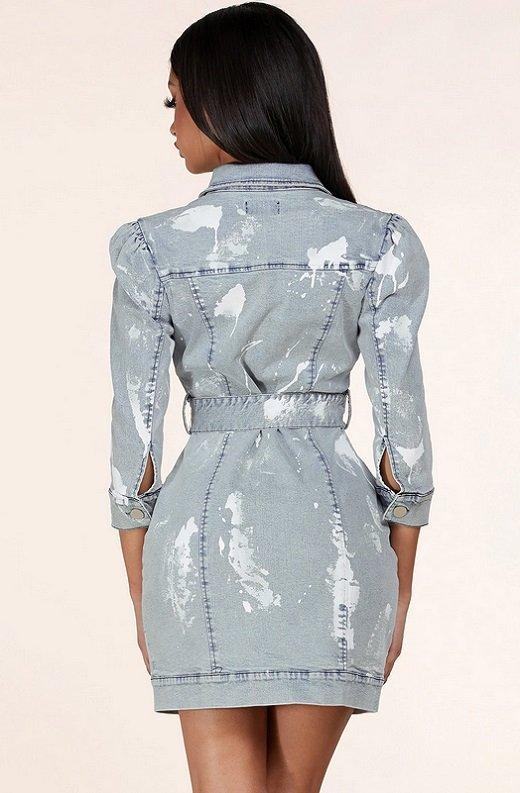 Light Denim Wash Button Up Half Sleeves Dress 3