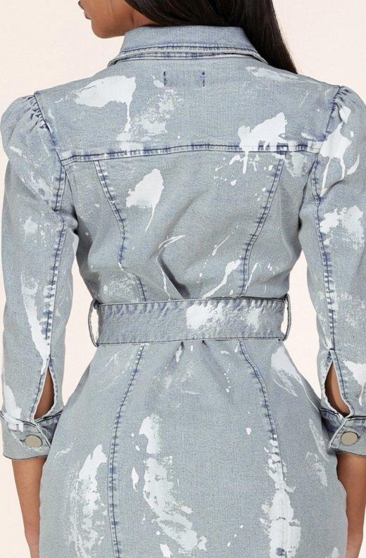 Light Denim Wash Button Up Half Sleeves Dress 4