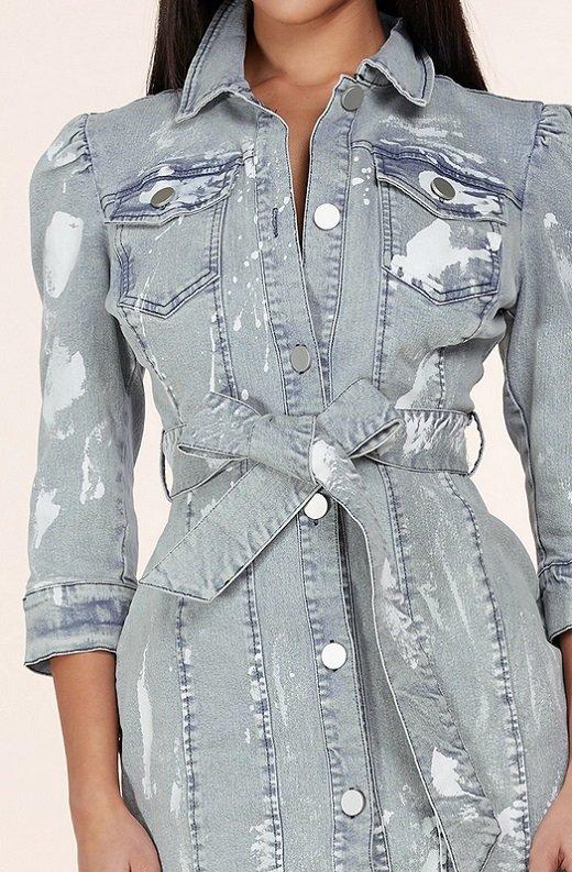 Light Denim Wash Button Up Half Sleeves Dress 5