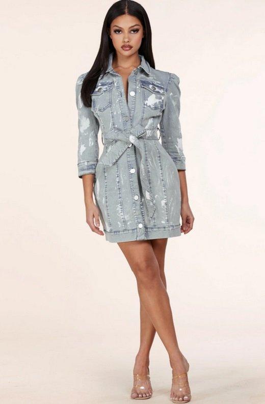 Light Denim Wash Button Up Half Sleeves Dress 6
