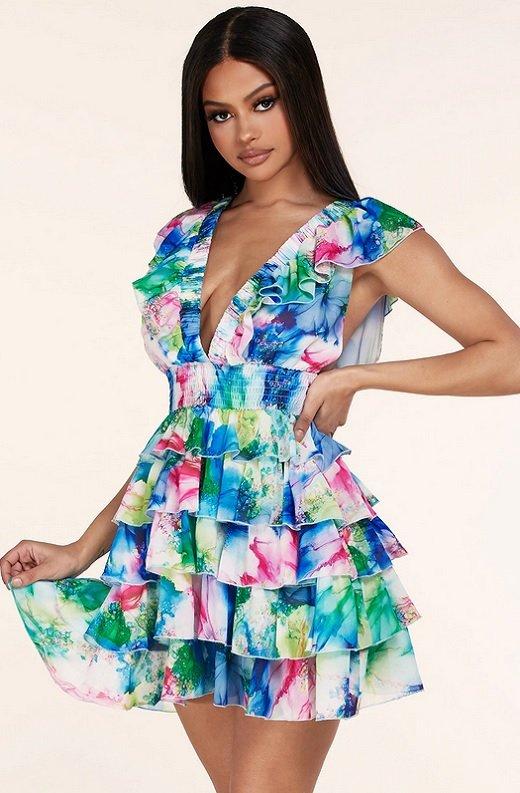 Mint Multi Color Ruffle Trim V Neckline Dress 1
