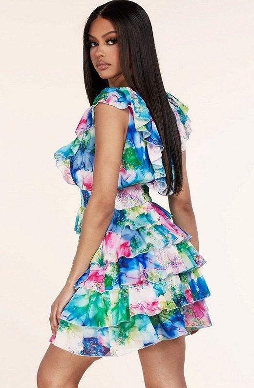 Mint Multi Color Ruffle Trim V Neckline Dress 2