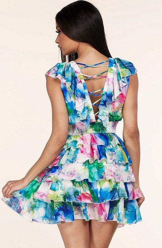 Mint Multi Color Ruffle Trim V Neckline Dress 3