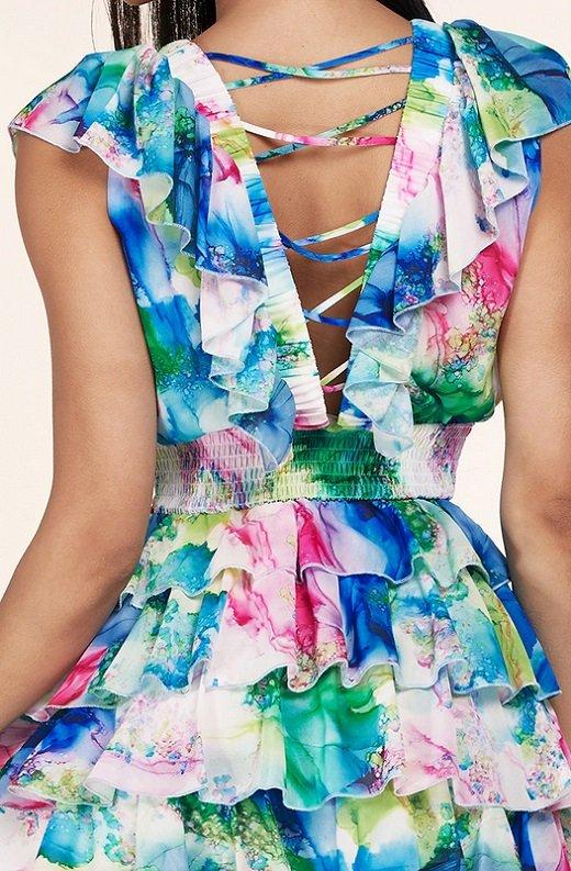 Mint Multi Color Ruffle Trim V Neckline Dress 5