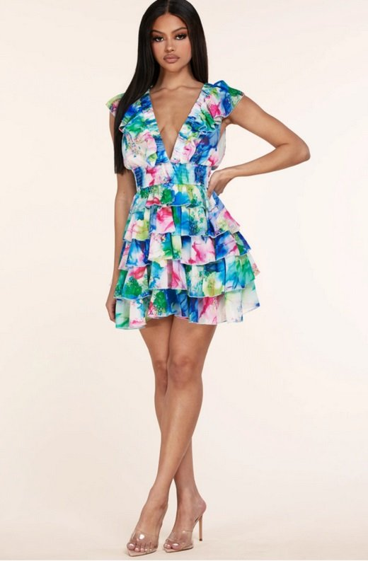Mint Multi Color Ruffle Trim V Neckline Dress 6